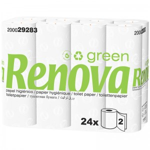 RENOVA GREEN Ecologisch toiletpapier 2laags 16,25mtr 24rollen 200029283